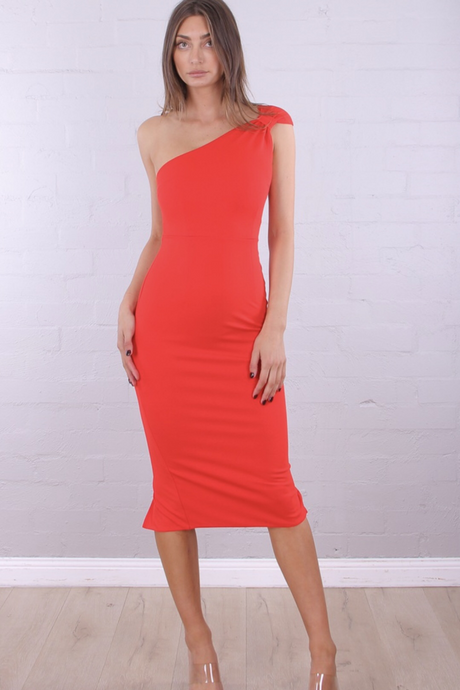 Red Fitted Midi Dress