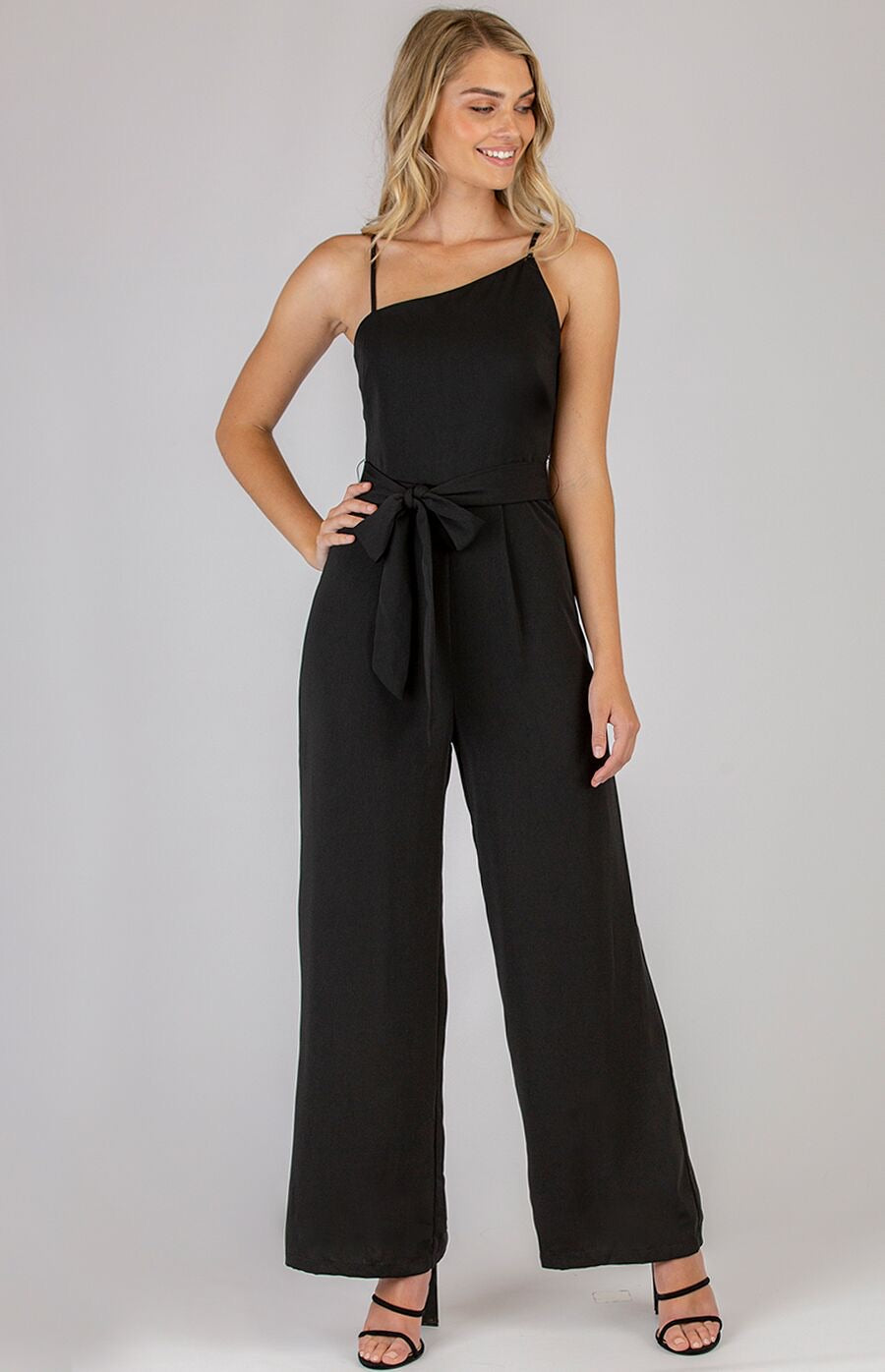 Asymmetrical Neckline Jumpsuit with Belt