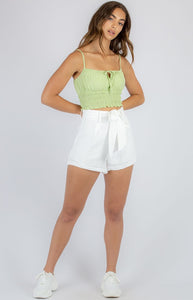 Green Shirred Waist Singlet with Drawstring Neckline