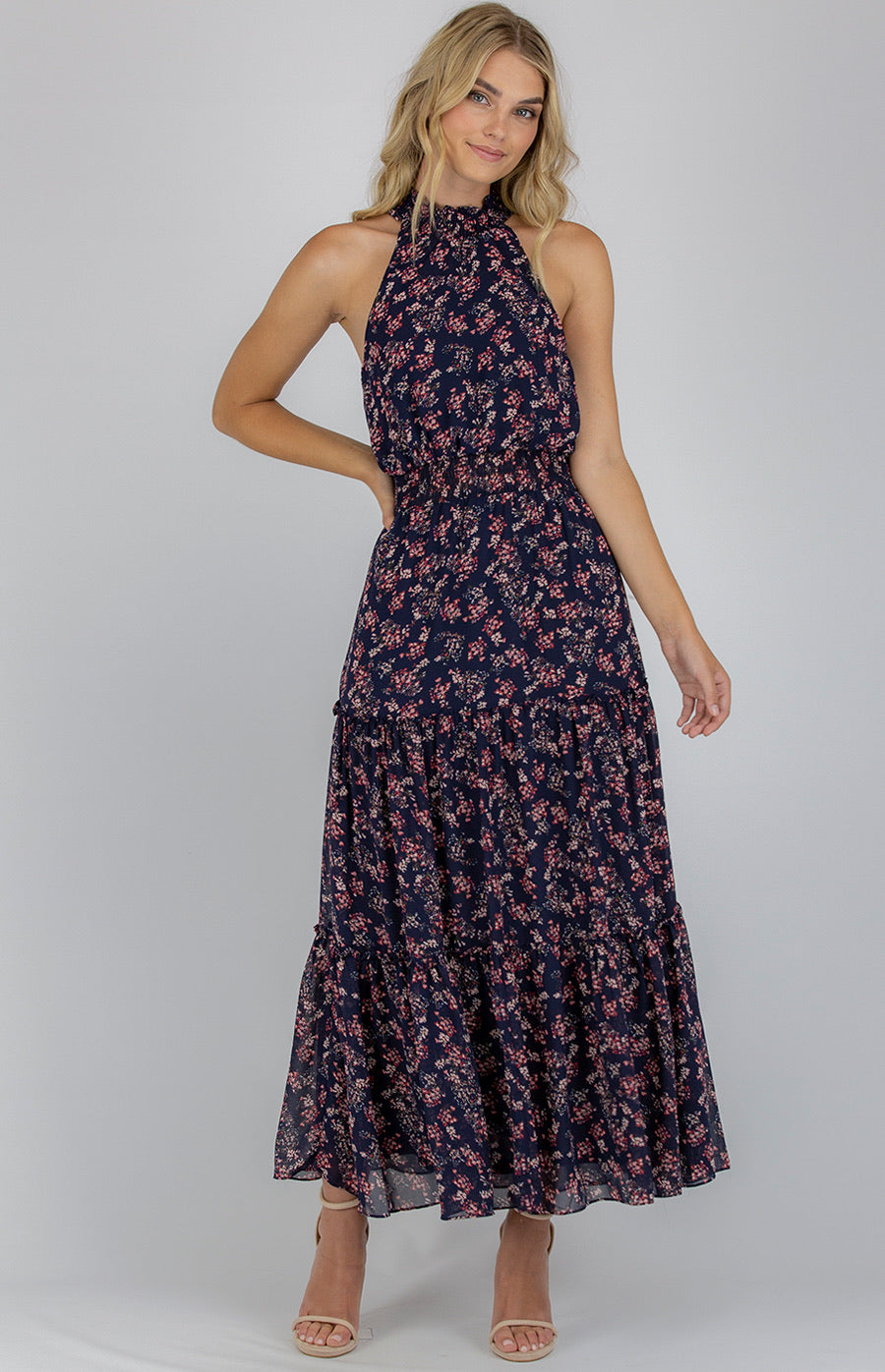 High Neckline Maxi Dress With Tiered Ruffle Details