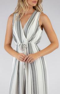 Striped Jumpsuit with Drawstring Waist