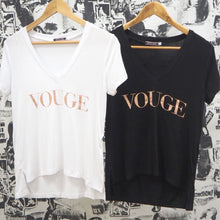 VOUGE ROSE GOLD SLOGAN V-NECK TEE BLACK