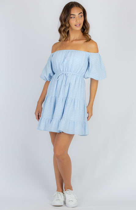 Cotton Off The Shoulder Baby Doll Dress - Blue