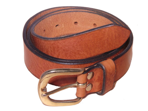 Dark Tan Leather Trouser Belt