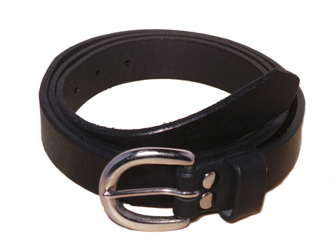 Black Leather Trouser Belt for Men