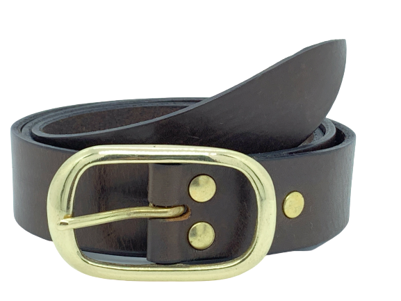 1.25 Inch Dark Brown Leather Trouser Belt