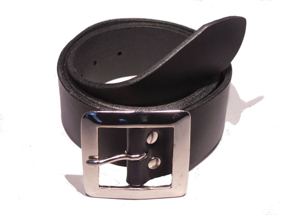 1.75 Inch Black Leather Belt