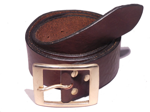 1 3/4 Inch Dark Brown Leather Belt