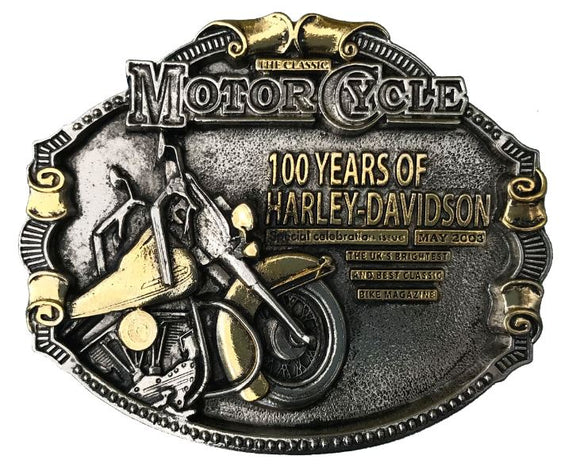 100 Years Harley Davidson Gold Belt Buckle