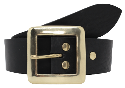 1 1/2 Inch Black Leather Belt