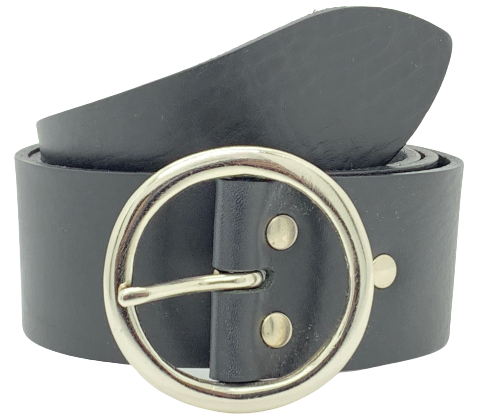2 Inch Black Leather Belt
