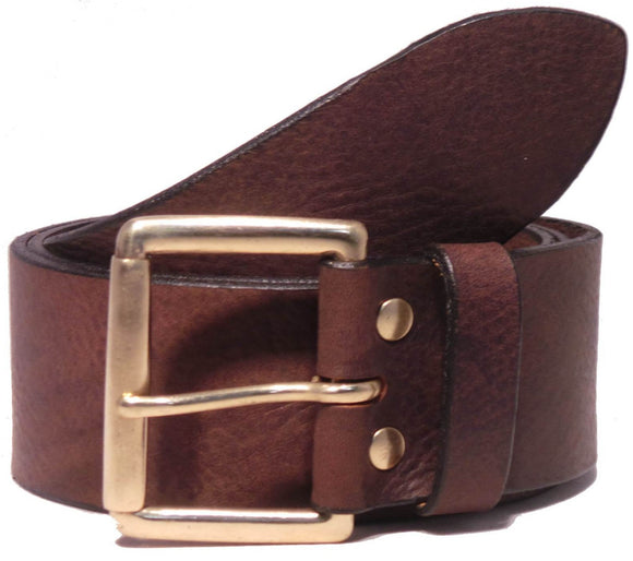 Classic Brass Roller 2 Inch Leather Belt