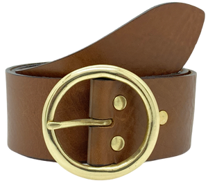 2 Inch Brown Leather Belt