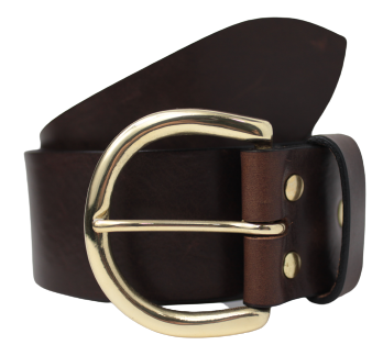 2 Inch D Ring Brass Buckle Leather Belt