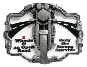 2 Wheels and an Open Road Belt Buckle
