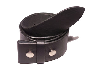 "2"" Inch Black Leather Belt Strap"