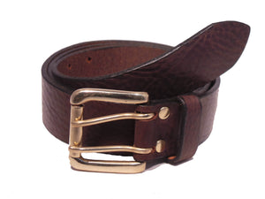 2 Prong Brass Buckle Leather Belt
