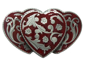 3 Red Hearts Belt Buckle