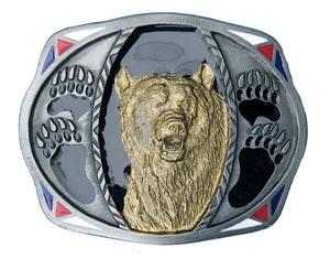Bear and Bear Paw Belt Buckle