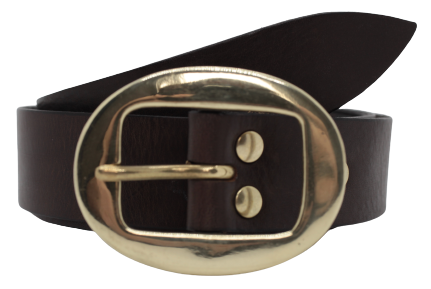 Brass Classic Oval Buckle Leather Belt