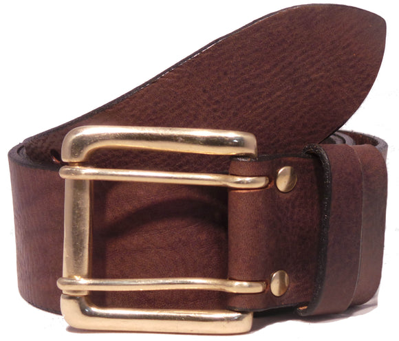 Brass 2 Prong Buckle Leather Belt