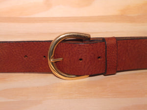 "Brass D Ring Buckle on 1 3/4"" Leather Belt"