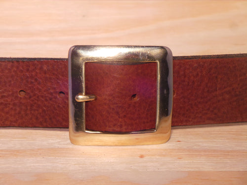 Brass Square 1 3/4 Inch Leather Belt