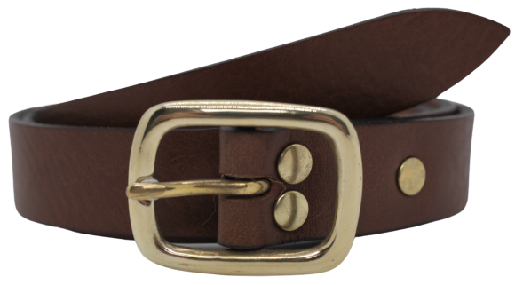Brown 1 Inch Leather Trouser Belt