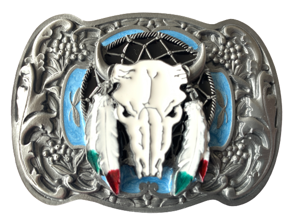 Buffalo Skull Feathers Blue Belt Buckle