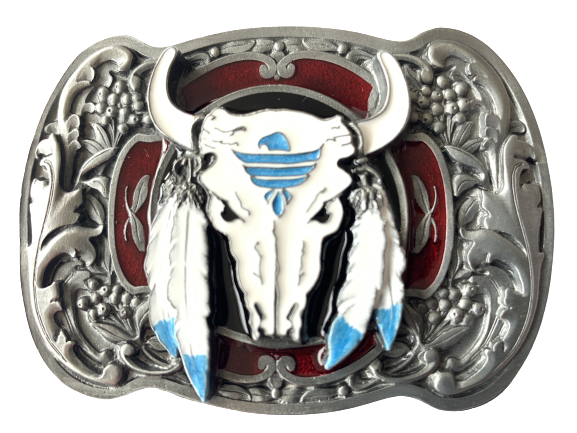 Buffalo Skull Feathers Red Belt Buckle