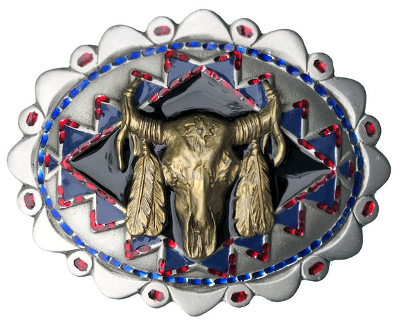 Buffalo Skull Belt Buckle