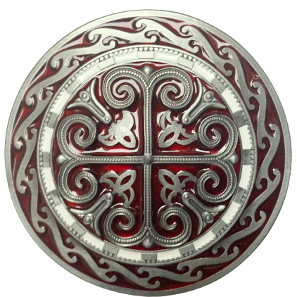 Celtic Round Cross Red Belt Buckle