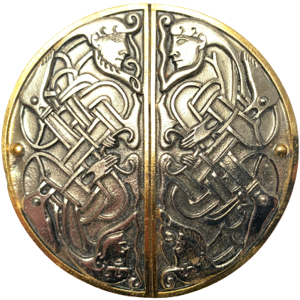 Celtic Twin Facing Gold Belt Buckle