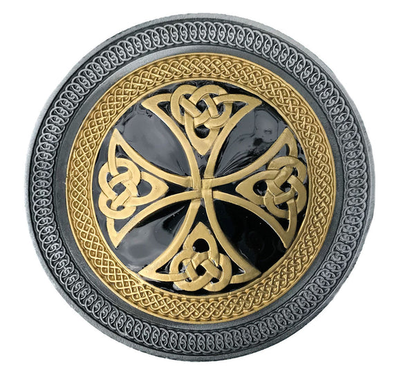 Celtic Cross Gold Black Belt Buckle