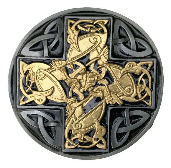 Celtic Cross Design Black Gold Belt Buckle