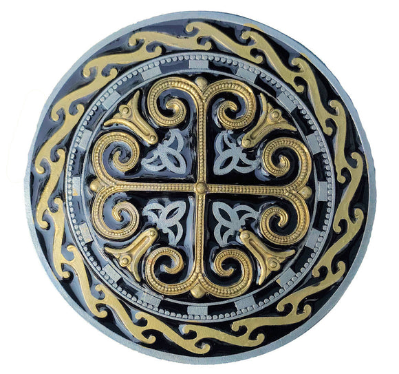 Celtic Round Cross Gold Black Belt Buckle