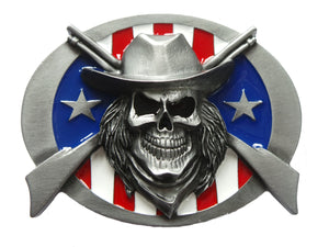 Cowboy Skull and Rifles Belt Buckle