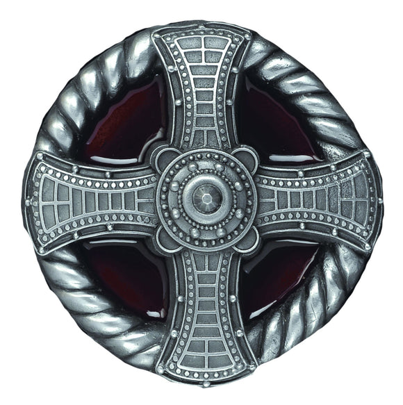 Cross and Rope Red Belt Buckle