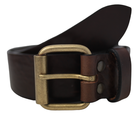 Dark Brown Antique Brass Buckle Leather Belt
