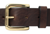 Dark Brown Leather Jean Belt