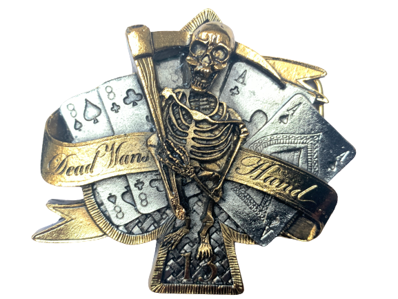 Dead Mans Hand Gold Belt Buckle