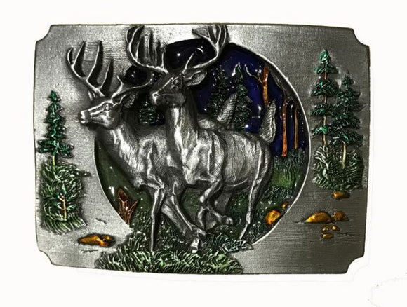 Deer Forest Cut Out Belt Buckle