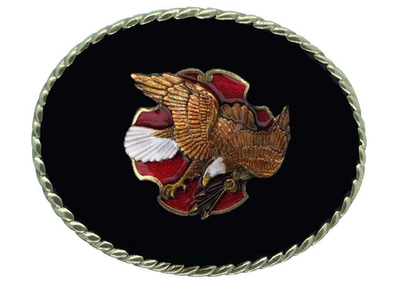 Eagle with Arrows Black Gold Belt Buckle