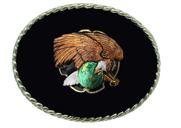 Eagle on Globe Black Belt Buckle