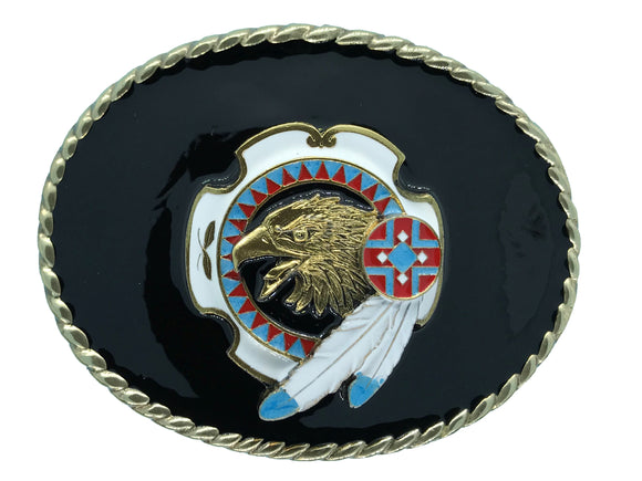 Eagle Head Feathers Black Belt Buckle