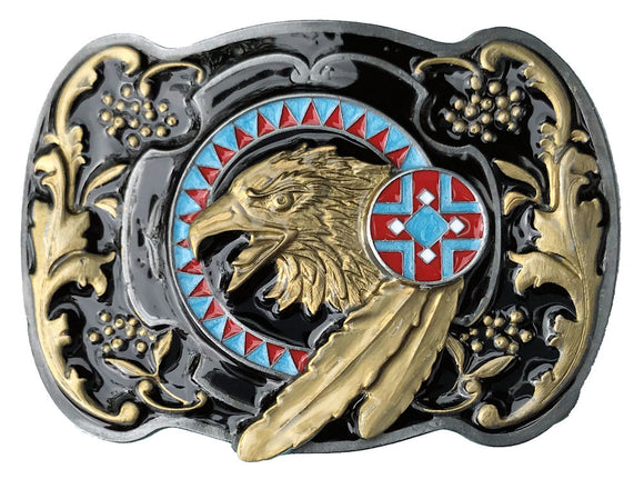Eagle Head with Feather Belt Buckle