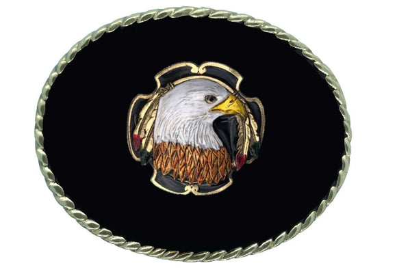Eagle Head Gold Black Belt Buckle