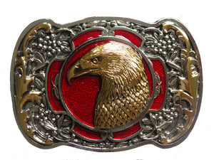 Eagle Head Red Gold Belt Buckle