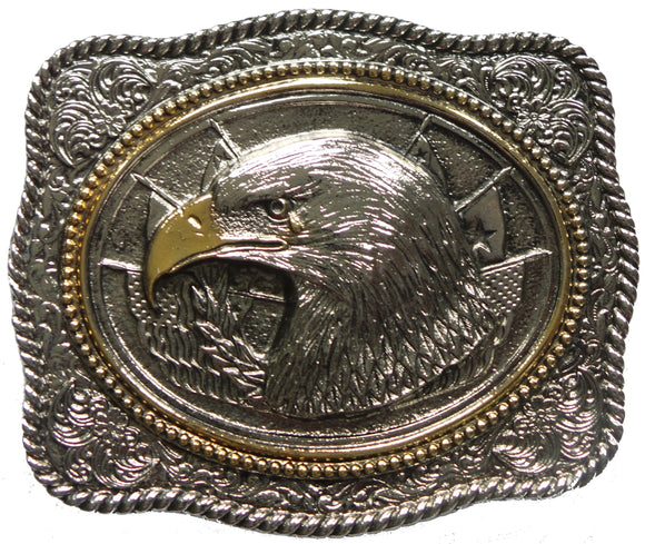 Eagle Head Silver Gold Belt Buckle