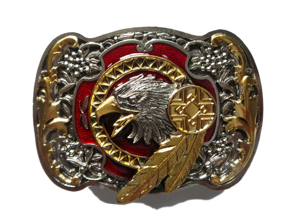 Eagle with Feathers Red Gold Belt Buckle